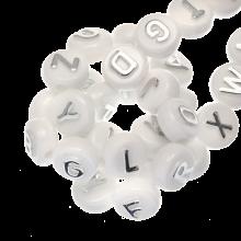 Acryl Buchstabenperlen Mix (10 x 6 mm) Silber (170 Stück)