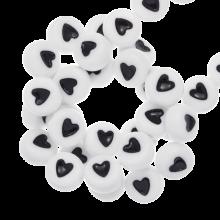 Acryl Buchstabenperlen Herz (7 x 4 mm) White (350 Stück)