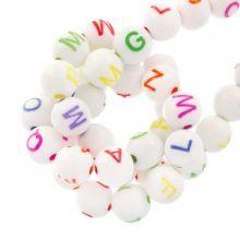 Acryl Buchstabenperlen Mix (7 x 8 mm) White / Mix Color (200 Stück)