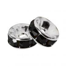 Strasssteinperlen (6 x 3 mm) Black (10 Stück)