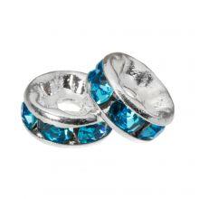 Strasssteinperlen (6 x 3 mm) Blue (10 Stück)