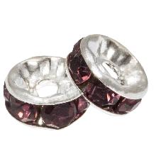 Strasssteinperlen (8 x 4 mm) Purple (10 Stück)