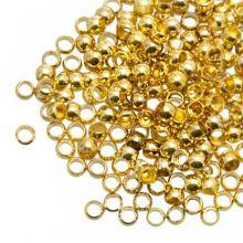 Quetschperlen (Innenmass 1.2 mm) Gold (100 Stück)