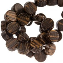 holzperlen flach farbe dunkel muster 10 mm