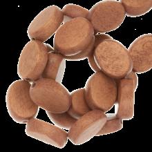 Holzperlen oval Flach natur farbe