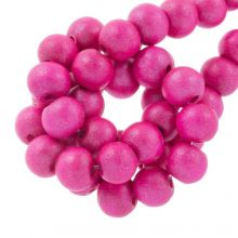holzperlen hot pink metallic look 8 mm