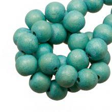 bleu farbe holzperlen vintage look rund 8 mm