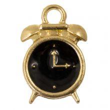 Emaille Charm Uhr (16 x 10.5 x 3 mm) Black (5 Stück)