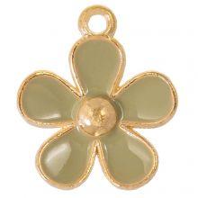 Emaille Charm Blume (21 x 18 x 3 mm) Moss Green (5 Stück)
