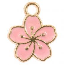 Emaille Charm Blume (14.5 x 12 x 1.5 mm) Pink (5 Stück)