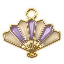 Emaille Charm Fächer (17 x 15 x 1.5 mm) Purple (5 Stück)