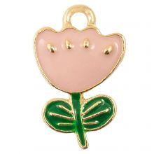 Emaille Charm Blume (19 x 12 x 2.5 mm) Soft Pink (5 Stück)