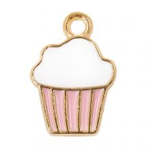 Emaille Charm Cupcake (16 x 11 x 2 mm) Pink (5 Stück)