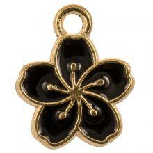 Emaille Charm Blume (14.5 x 12 x 1.5 mm) Black (5 Stück)