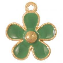Emaille Charm Blume (21 x 18 x 3 mm) Sage Green (5 Stück)