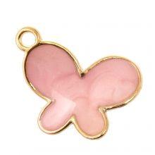 Emaille Charm Schmetterling (17 x 13 x 3 mm) Pink (5 Stück)