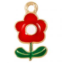 Emaille Charm Blume (19 x 11 x 2.5 mm) Red (5 Stück)