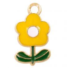 Emaille Charm Blume (19 x 11 x 2.5 mm) Yellow (5 Stück)