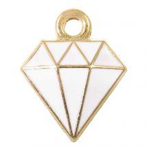 Emaille Charm Diamant (15 x 11 x 2.5 mm) White (5 Stück)