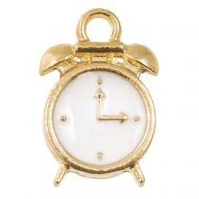Emaille Charm Uhr (16 x 10.5 x 3 mm) White (5 Stück)
