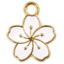 Emaille Charm Blume (14.5 x 12 x 1.5 mm) White (5 Stück)