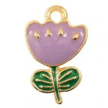 Emaille Charm Blume (19 x 12 x 2.5 mm) Purple (5 Stück)