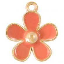 Emaille Charm Blume (21 x 18 x 3 mm) Salmon Pink (5 Stück)