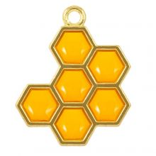 Emaille Pendant Honigwabe (21 x 17 x 1.5 mm) Golden Yellow (5 Stück)
