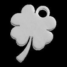 Edelstahl Charm Klee (10 x 9 mm) Altsilber (4 Stück)