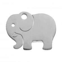 Edelstahl Charm Elefant (13 x 10 mm) Altsilber (4 Stück)