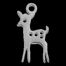 Edelstahl Charm Hirsch (15 x 8 mm) Altsilber (4 Stück)