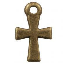 Charm Kreuz (12 x 7 mm) Bronze (25 Stück)