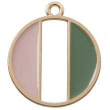 Emaille Pendant (26 x 23 mm) Pink Green (5 Stück)