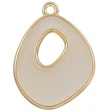 Emaille Pendant (27 x 20 mm) Misty White (5 Stück)