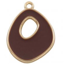 Emaille Pendant (27 x 20 mm) Coconut Brown (5 Stück)