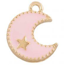 Emaille Charm Mond (18 x 13 mm) Pink (10 Stück)