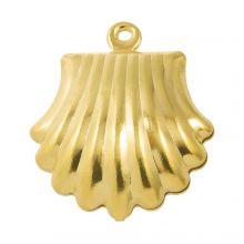 Charm Muschel Edelstahl (19 x 16 mm) Gold (10 Stück)