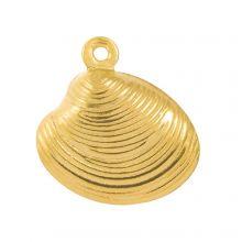 Charm Muschel Edelstahl (14 x 13 mm) Gold (10 Stück)