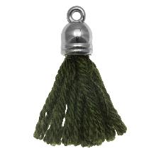 Quasten (20 mm) Seaweed / Silber (5 Stück)