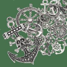 Charm Mix Anker (verschiedene Größen) Altsilber (60 Stück)