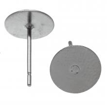 Edelstahl Ohrstecker mit Platte (8mm x 0.6 mm) Altsilber (20 Stück)