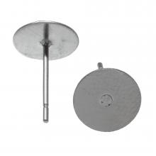 Edelstahl Ohrstecker mit Platte (6mm x 0.6 mm) Altsilber (20 Stück)