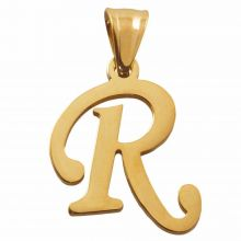Edelstahl Buchstabenanhänger R (32 mm) Gold (1 Stück)