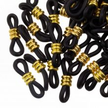 Gummischlaufen für Brillen mit Edelstahl (Black / Gold) 25 Stück