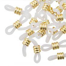 Gummischlaufen für Brillen mit Edelstahl (Transparent  / Gold) 25 Stück