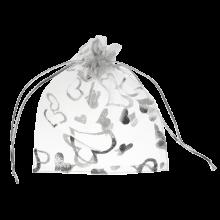 Organzabeutel (13 x 18 cm) White & Silver (25 Stück)