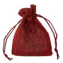Jute Schmuckbeutel (9 x 7 cm) Dark Red (10 Stück)