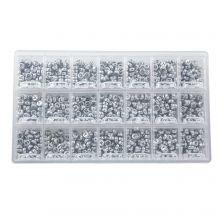 Sortierkasten - Buchstabenperlen Konsonanten (7 x 3.5 mm) Silver (50 Perlen pro Buchstabe)