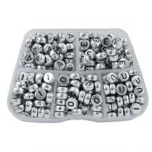 Sortierkasten - Buchstabenperlen Vokale - (7 x 3.5 mm) Silver (50 Perlen pro Buchstabe)