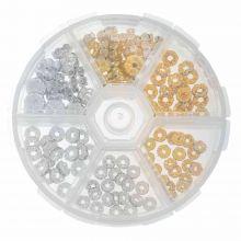 Perlen Set - Strasssteinperlen (verschiedene Größen) Gold / Silber (120 Stück)